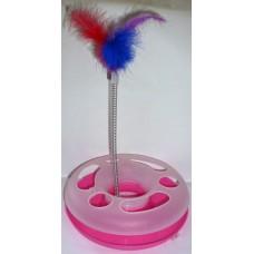Играчка за котка ИНТЕРАКТИВНА пластмасов кръг 24 см с 1 топче и перца на пружина 090109-06