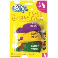 Играчка за котки Pet Brands Three Bright Mice - 3 мишки с котешка трева 4х3х9 см - Pet Brands Англия 10053