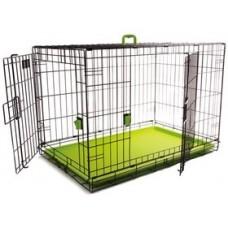 M-Pets Voyager Wire Crate 2 doors Green - метална, сгъваема клетка със зелено дъно, размер L - 91,5 x 58,5 x 63,5 см, Белгия - 10451303