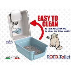 Закрита котешка тоалетна с карбонов филтър и лопатка ROTO, лесно почистване - 52x40x40 см GEORPLAST Италия 10588