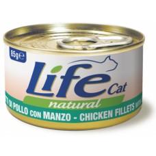 Life Cat Natural Chicken & Beef - с пилешко и говеждо месо 85 гр
