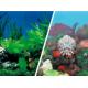 Двустранен фон за аквариум PVC различни десени - височина 40 см А1158
