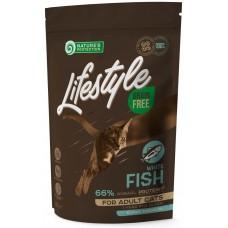 Nature's Protection CAT - LIFESTYLE Grain Free Adult White Fish, висококачествена храна за пораснали котки от всички породи, БЕЗ ЗЪРНО, с бяла риба, Литва - 0,4 кг 125027