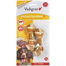 Vadigran KNOTTED CHEWBONE BEEF - вързан кокал от говежда кожа, за бели зъби и висока устна хигиена 85 гр - 10 см, Белгия - 13345