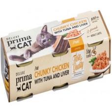Prima Cat Deluxe Chunky Chicken with Tuna and Liver - с пилешко, риба тон и дроб 3 х 80 гр