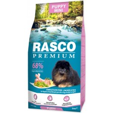 RASCO Premium Puppy Mini - Премиум храна с пиле и ориз за подраставщи кученца от мини породи, 1 кг, Чехия 1704-10012