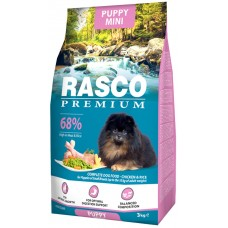 RASCO Premium Puppy Mini - Премиум храна с пиле и ориз за подраставщи кученца от мини породи, 3 кг, Чехия 1704-10014