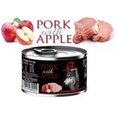 Alpha Spirit Complete wet dog food - Свинско месо с Ябълки консерва с мокра храна с 92% месо и 4% плодове - 150 гр