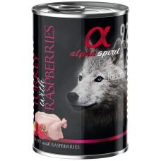 Alpha Spirit Complete wet dog food - Пуйка с Малини консерва с мокра храна с 92% месо и 4% плодове - 400 гр