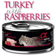 Alpha Spirit Complete wet cat food - Пуйка с Малини консерва за котки с 92% месо и 4% плодове - 85 гр