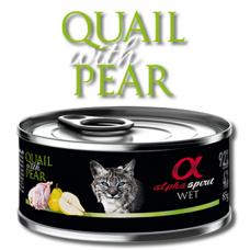 Alpha Spirit Complete wet cat food - Пъдпъдък с Круши консерва за котки с 92% месо и 4% плодове - 85 гр