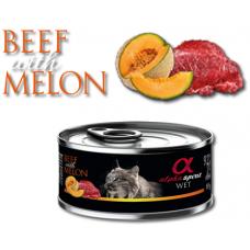 Alpha Spirit Complete wet cat food - Телешко с Пъпеш консерва за котки с 92% месо и 4% плодове - 85 гр