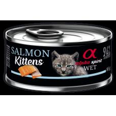 Alpha Spirit Complete wet cat food Kitten - консерва за подрастващи котки със Сьомга месо и плодове - 85 гр