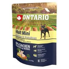 Ontario Adult Mini Chicken & Potatoes - пълноценна храна за пораснали кучета от малки породи с пиле и картофи 0,75 кг, Чехия 214-10533