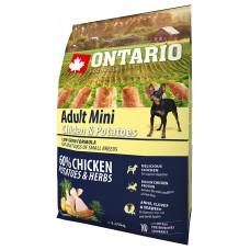 Ontario Adult Mini Chicken & Potatoes - пълноценна храна за пораснали кучета от малки породи с пиле и картофи 2,25 кг, Чехия 214-10535