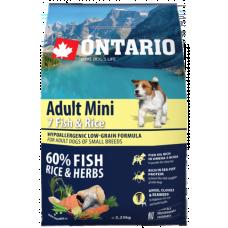 Ontario Adult Mini Fish & Rice - пълноценна храна за пораснали кучета от малки породи със седем вида риба и ориз 2,25 кг, Чехия 214-10575