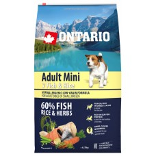 Ontario Adult Mini Fish & Rice - пълноценна храна за пораснали кучета от малки породи със седем вида риба и ориз 6,5 кг, Чехия 214-10577