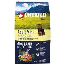 Ontario Adult Mini Lamb & Rice - пълноценна храна за пораснали кучета от малки породи с агне и картофи 6,5 кг, Чехия 214-10597