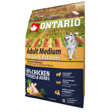 Ontario Adult Medium Chicken & Potatoes - пълноценна храна за пораснали кучета от средни породи с пиле и картофи 2,25 кг, Чехия 214-10635