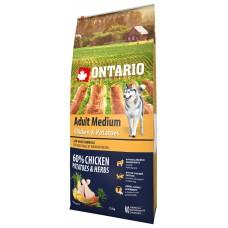 Ontario Adult Medium Chicken & Potatoes - пълноценна храна за пораснали кучета от средни породи с пиле и картофи 12кг, Чехия 214-10638