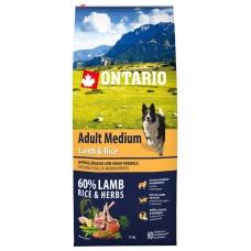 Ontario Adult Medium Lamb & Rice - пълноценна храна, хипоалергенна формула за пораснали кучета от средни породи с агне и ориз 12кг, Чехия 214-10698