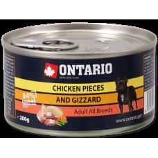ONTARIO Can Chicken Pieces + Gizzard - консерва за кучета с пилешки хапки и шкембе 200 гр, Чехия 214-2002
