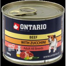 ONTARIO Can Mini Beef, Zucchini, Dandelion and linseed oil - консерва за кучета с говеждо месо, тиквички и ленено масло 400 гр, Чехия 214-2006
