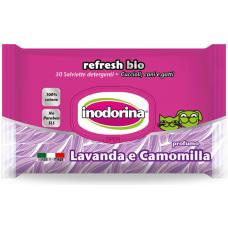 Inodorina Refresh Bio LAVANDER AND CHAMOMILE PERFUME - Мокри кърпички Лавандула и Лайка, 100% памук за чувствителна кожа 30 бр