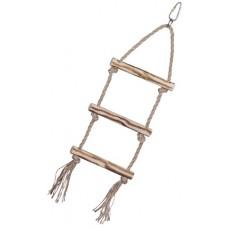 Дървена стълба със сезалено въже, играчка за папагал - 37 x 12,5 cm, NOBBY Германия 31708
