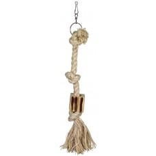 Въже с дървено кубче, играчка за папагал - Ø 1,8 x 44 cm, три възела, NOBBY Германия 31710
