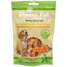 Planet Pet 2 in 1 Meaty Snacks Chicken & Carrot - деликатесно лакомство с пилешко месо и моркови 70 гр