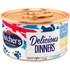 Butchers Delicious Dinners Mousse with Tuna and Ocean Fish - консерва за котки с риба тон и океанска риба 85 гр
