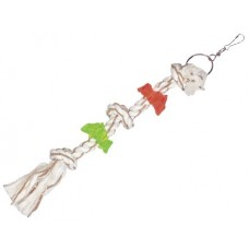 Въже с кожени ленти и акрилни пръстени, играчка за папагал - размер S - 46 см, 192 гр, NOBBY Германия 50550