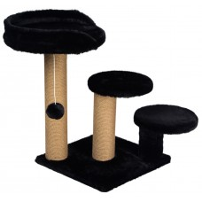 Драскалка за котка, три стълба, три площадки и топче 65 х 65 х 60 см, ЧЕРНА - DUBEX Турция 51510/TVR40-4