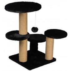 Драскалка за котка, три стълба, четри площадки и топче 62 х 62 х 71 см, ЧЕРНО - DUBEX Турция 51515/TVR40-5