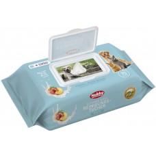Мокри кърпи за кучета, котки и гризачи с аромат на праскова NOBBY, с екстракт от витамин Е и AloeVera, 70 броя в опаковка, Германия - 57181