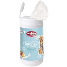 Мокри кърпи за кучета, котки и гризачи с аромат на праскова NOBBY, с екстракт от витамин Е и AloeVera, 50 броя в кутия, Германия - 57182