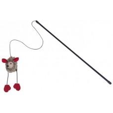 Играчка за котка въдица с плюшена мишка със звук 50 см, играчка 6 см NOBBY Германия 66870