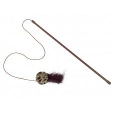 Играчка за котка въдица с плюшена дрънкалка и пера с котешка трева пръчка 45 см, въженце 75 см, играчка 5 см NOBBY Германия 66912