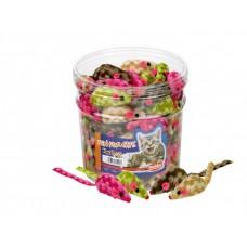 Играчка за котка плюшена мишка цветно/каре 7 см NOBBY Германия 71906