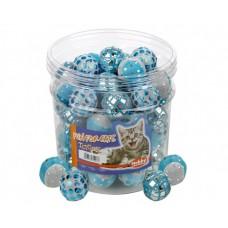 Играчка за котка топка с блясък синьо-бяла 4 см NOBBY Германия 71907