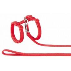 Нагръдник с повод за котка - изкуствена лента червен