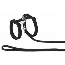 Нагръдник с повод за котка - изкуствена лента черен