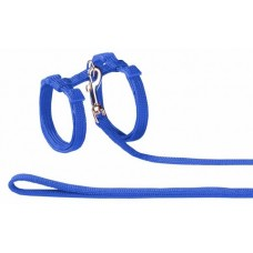 Нагръдник с повод за котка - изкуствена лента син