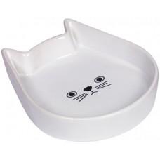"""Съд за храна или вода керамична """"Kitty Face"""" бяла - 13 x 16 x 3 см NOBBY Германия 73760"""