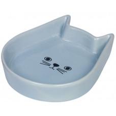 """Съд за храна или вода керамична """"Kitty Face"""" светло синя - 13 x 16 x 3 см NOBBY Германия 73761"""