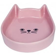 """Съд за храна или вода керамична """"Kitty Face"""" розова - 13 x 16 x 3 см NOBBY Германия 73762"""