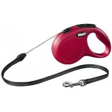 Автоматичен повод FLEXI NEW Classic M червено въже 5 м. / 20 кг.