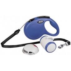 Автоматичен повод FLEXI NEW Classic M синьо въже 5м Multibox LED осветление