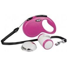 Автоматичен повод FLEXI NEW Classic M розово въже 5м Multibox LED осветление